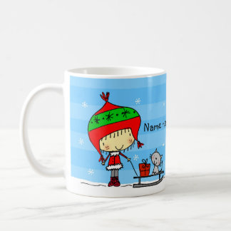 ♥ MUG ♥ Cute Christmas girl and cat in snow blue