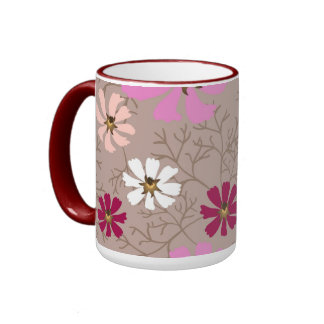 Mug with tender floral background.