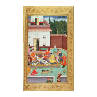 Mughal Emperor Feasting in a Courtyard Canvas Print