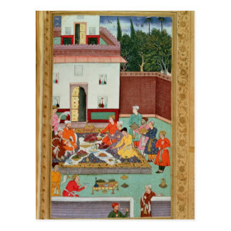 Mughal Emperor Feasting in a Courtyard Postcard