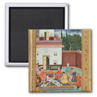 Mughal Emperor Feasting in a Courtyard Square Magnet