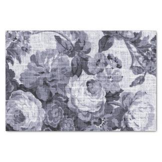 Mulberry Blue Purple Vintage Floral Toile No.5 Tissue Paper