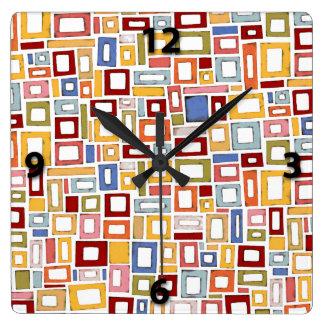 Multi Color Box Pattern Decorative Wall Clock
