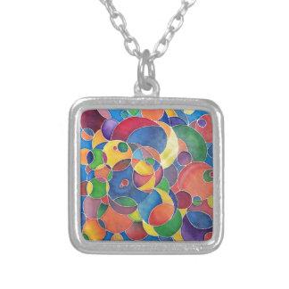 Multi-color Circles Square Pendant Necklace