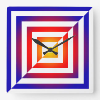 Multi Color Geometric Reversed Design Square Wall Clock