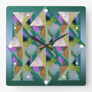 Multi-Color Prisms Square Wall Clock