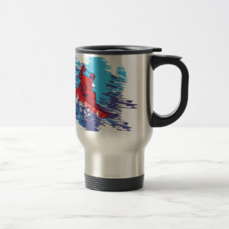 Multi Color Snowboarder Cathching High Snow Drifts Travel Mug