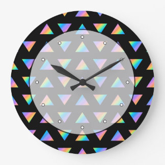 Multi Color Triangle Pattern. Large Clock