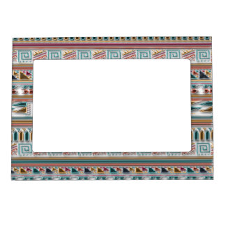 Multi Colored Gems Geometric Aztec Tribal Pattern Magnetic Picture Frame