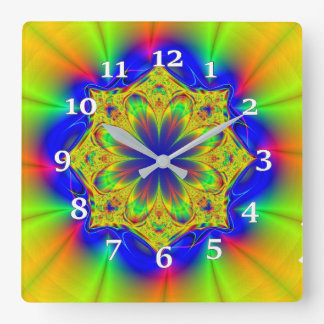 Multi-colored Kaleidoscope Square Wall Clock