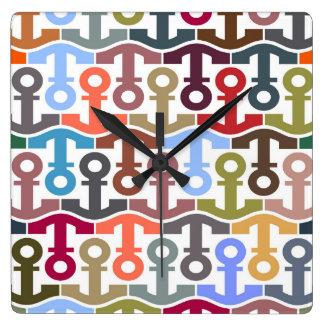 Multi Colored Nautical Anchor Pattern Square Wall Clock