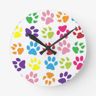 Multi-Colored Paw Prints Round Clock
