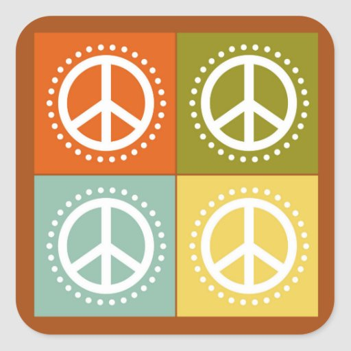 Multi-Colored Peace Signs and Polka Dots Sticker