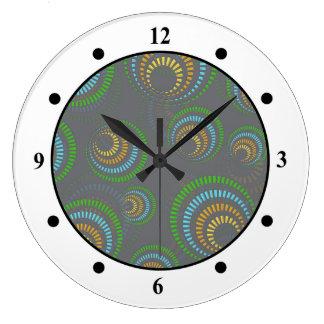 Multi Colored Retro Circles on Grey Large Clock