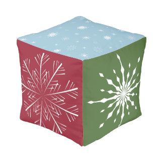 Multi-Colored Snowflake Cube Cushion
