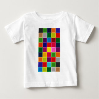 Multi Colored Squares and Stripes Girly Baby T-Shirt