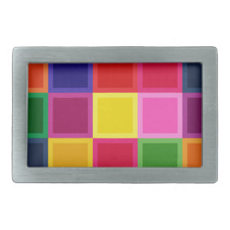 Multi Colored Squares and Stripes Girly Belt Buckles