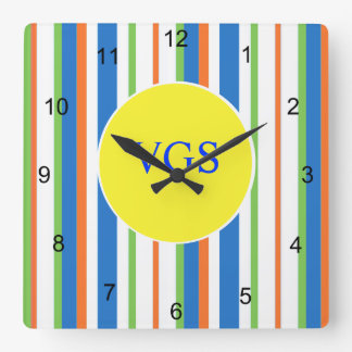 Multi Colored Striped Monogram Square Wall Clock