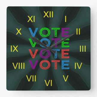 Multi-colored VOTE Square Wall Clock