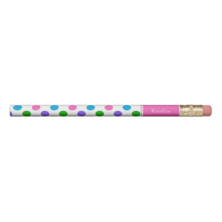 Multi Colour Polka Dots with Pink Personalised Pencil