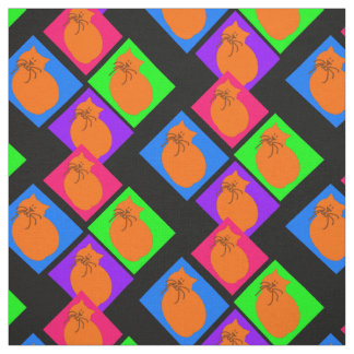 Multi-coloured cats in a pattern black b/g fabric