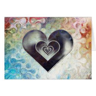 Multi Coloured Pencil Sketching Abstract Heart Card