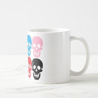 multi coloured skulls coffee mug