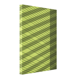 Multi Directional Green Striped Pattern Canvas Print