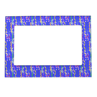 Multi Party Streamers on Neon Blue Magnetic Photo Frames