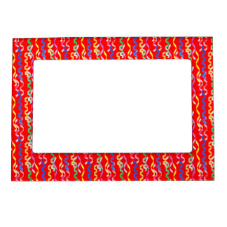 Multi Party Streamers on Neon Red Photo Frame Magnets
