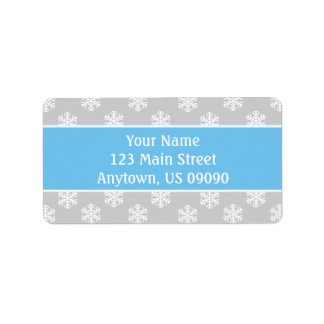 Multi Snowflakes Address Labels (Lt Blue / Silver)
