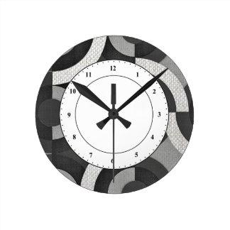 Multi Texture Look Geometric Mod Circles Round Clock