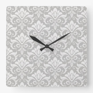 Multi-Tone Taupe Neutral Shabby Chic Damask Square Wall Clock