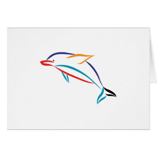 Multicolor Dolphin Greeting Card