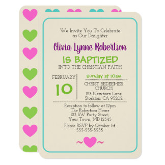 Multicolor Hearts Baptism Invitation