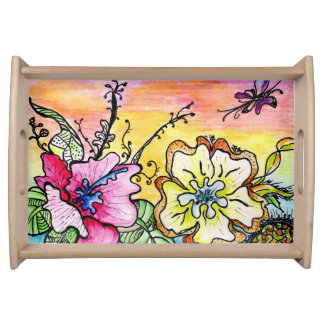 Multicolor Pop Flowers Small Serving Tray, Natural Serving Tray