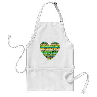 Multicolor Stripe Flourish Heart Standard Apron