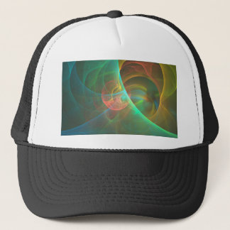 Multicolored abstract fractal trucker hat