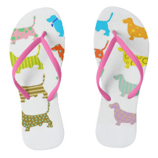 Multicolored basset flip flops