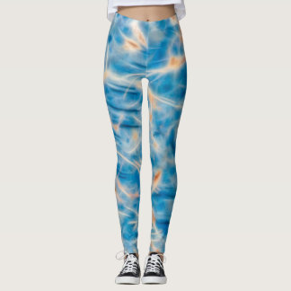 Multicolored Blue & Rust Leggings