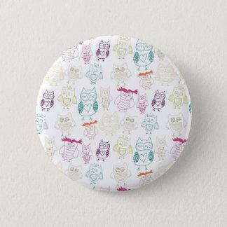 Multicolored Doodle Owls 6 Cm Round Badge