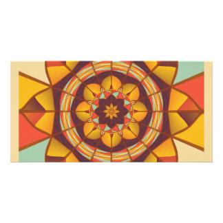 Multicolored geometric flourish photo card template