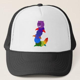 Multicolored Happy Smiling Cartoon Caterpillar Trucker Hat