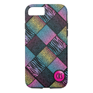 Multicolored Jungle Animal Patterns  Monogram iPhone 8/7 Case