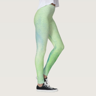 Multicolored Leggings - Greens Blues & White