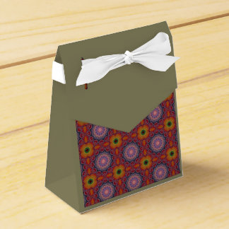 Multicolored Medallions Flowers Pattern Tent Box Party Favour Boxes
