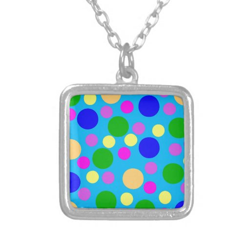 Multicolored Modern Dots blue cyan pink purple Necklaces