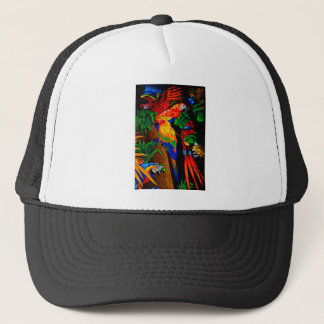 Multicolored Parrot Picture Trucker Hat