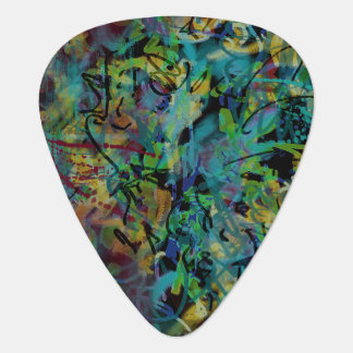 Multicolored Scribbled Abstract Art Plectrum