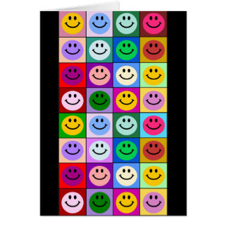 Multicolored Smiley Squares Card